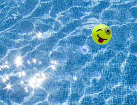 protruding: Swimming pool and small ball with protruding and winking face