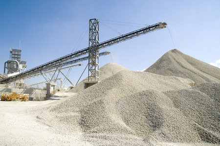 conveyors: Several working belt conveyors and a piles of rubble in Gravel Quarry