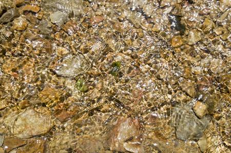 Pebbles in creek or stream flowing water closeup