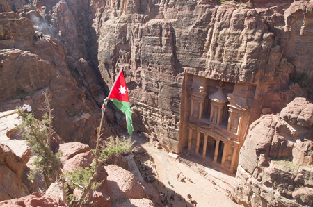 Top view of Petra Treasury (Al-Khazneh) from jordanian flag