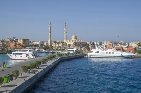 Yacht harbor in Hurgada in Egypt, Africa