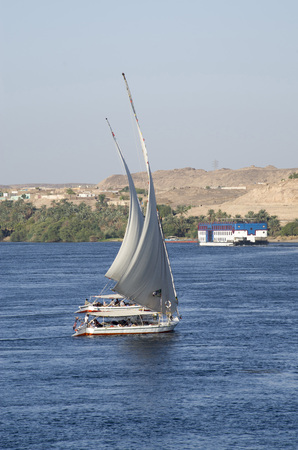 Sailboats for tours on the Nile river, Egypt