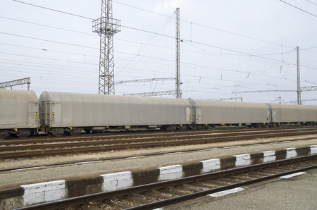 Gray freight train with tented wagons on railway Stockfoto