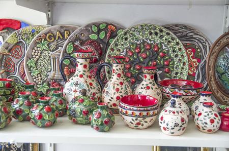 Traditional armenian crafts ceramic plates, jugs, bowls and vases in Garni,  Armenia Reklamní fotografie