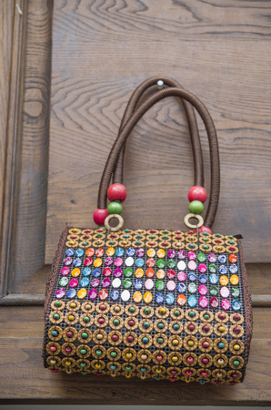 Colorful handmade Coconut Shell Lady Bag