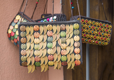 Colorful handmade Coconut Shell Lady Bags