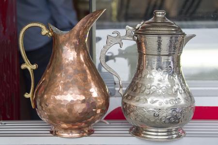 Two oriental copper jugs for tea in Tbilisi, Georgia, Europe Reklamní fotografie