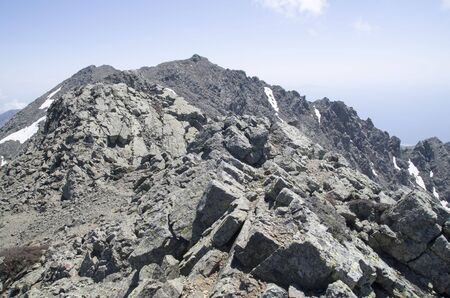 Rocky ridge of the mountain Saos and peak Fengari on island of Samothrace in Greece Stock Photo