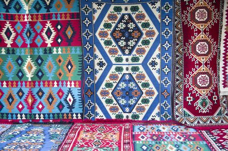 Colorful traditional carpets on street in  Albania, Europe Banque d'images