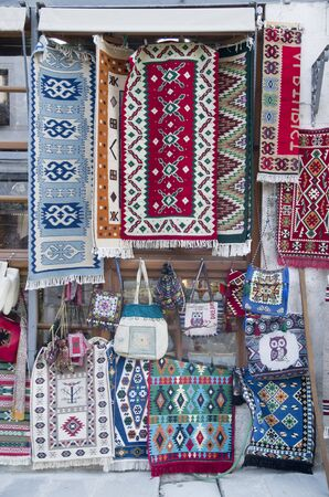 Colorful traditional carpets and bags in Albania, Europe