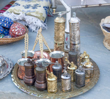 New copper engraving handcrafts - hand grinders and jars in Albania, Europe