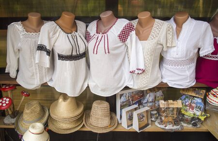 Multicolored cotton women's and men's shirts with Romanian embroideries, Romania