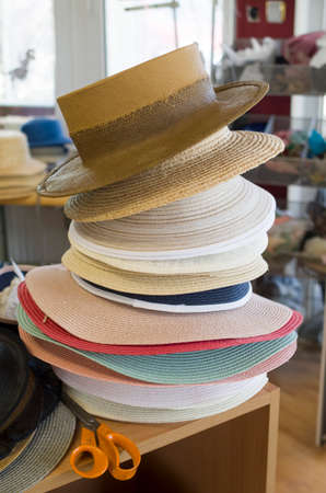 Bunch of male and female panama hats in workshop