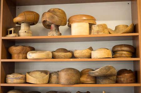 Wooden hat blocks for felt hats in a hat workshop