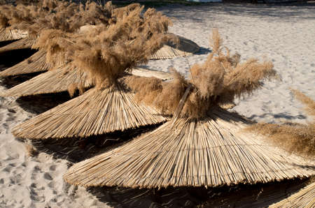 Many reed umbrellas on the pile on the beach in spring in anticipated summer