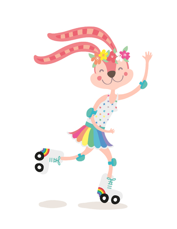 Bunny Girl Over a Roller Skates vector