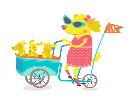 Mom Dog and Puppies over a Tricycle