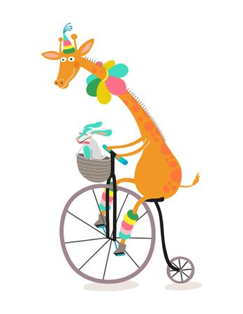 Giraffe riding a bike