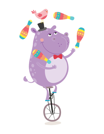 Huggler Hippopotamus over a Monocycle with friend