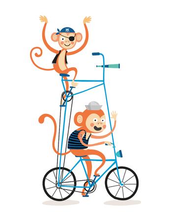 Monkeys in a second floor bike