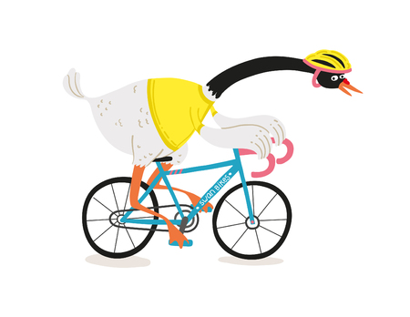 Swan biker illustration Illustration