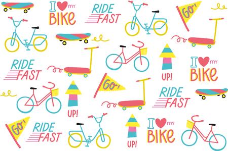 I Love Bikes vector set