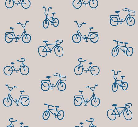Blue Vintage Bikes pattern Ilustração