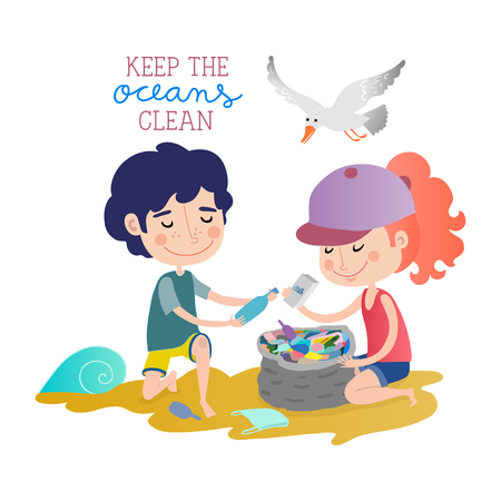 Keep the oceans clean Vectores