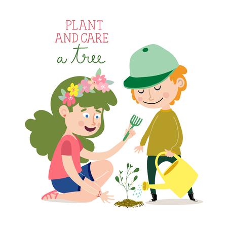 Plant and care a tree Ilustração