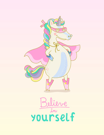 Superhero Unicorn Believe in yourself Çizim