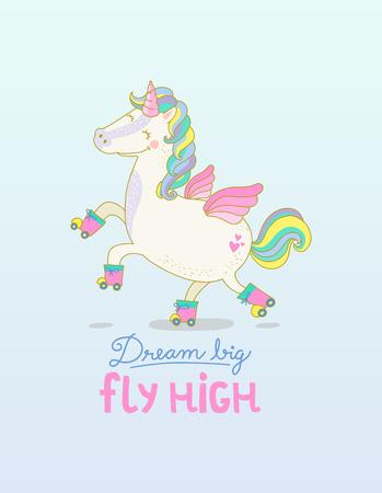 Roller skateboard Unicorn Dream Big Fly High