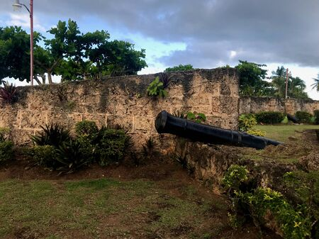 Ancient Fort Milford Ruins with cannons near Pigeon Point Beach on the Caribbean island of Tobago (Trinidad and Tobago - West Indies)