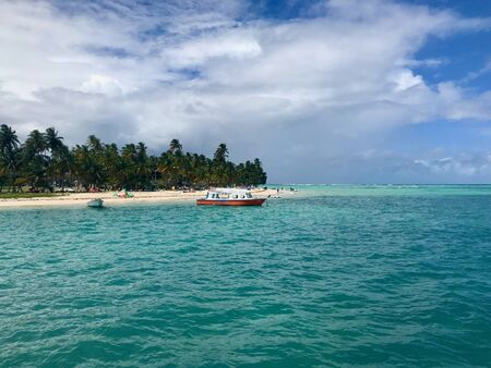 Beautiful view of the Caribbean island of Tobago (Trinidad - West Indies) from a boat: sand beach, palm tree, turquoise water and blue sky with white clouds Stock Photo
