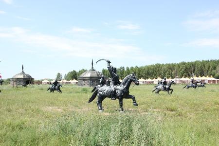 mongolia horse: mongolia horse riding sculpture