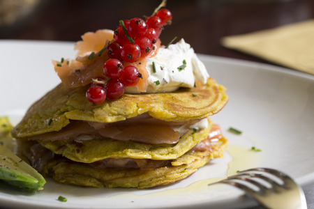 green pancakes with salmon and fresh cream cheese