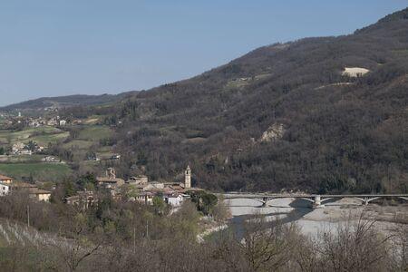 upper  view of Travo - Piacenza. a beautiful town on the river Trebbia in Val Trebbia Banco de Imagens