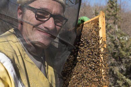 horizontal shot of a smileing italian beekeeper next to  his beehives Banco de Imagens