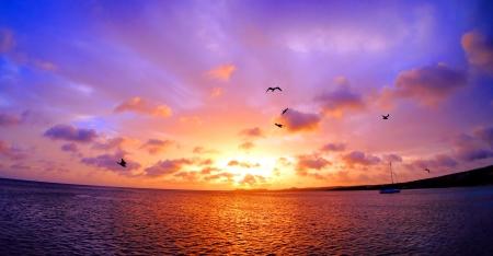 beach scene: peaceful stunning sunset over ocean in Caribbean