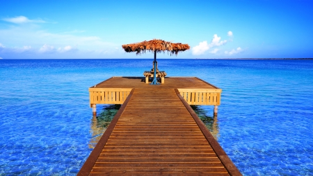 way to paradise, wooden pier over turquoise sea
