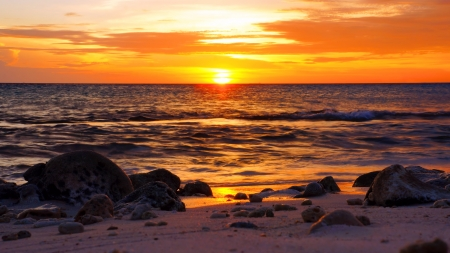 stunning sunset over ocean in Caribbean Stock Photo