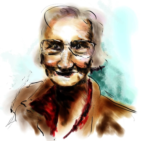 wacom: painting of an old woman