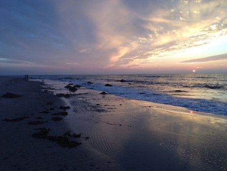 hirtshals: Sunset beach of Hirtshals in autum, Denmark Stock Photo