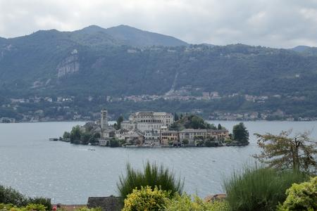 A landscape of Orta San Giulio island in the Orta Lake, in the Novara province in northern Italy Archivio Fotografico