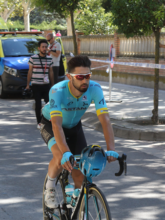 Ejea de los Caballeros, Spain - September 13, 2018: Dario Cataldo approaching to the start of Vuelta de Espana, stage 18 Editorial