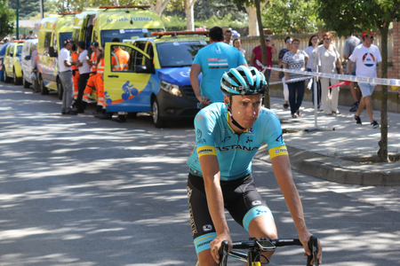 Ejea de los Caballeros, Spain - September 13, 2018: Jan Hirt approaching to the start of Vuelta de Espana, stage 18