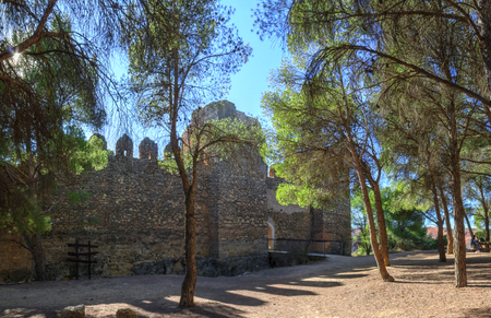 The remains of the ancient castle of Anento, with some trees and the sunlight in backlight, in the small spanish aragonese town of Anento