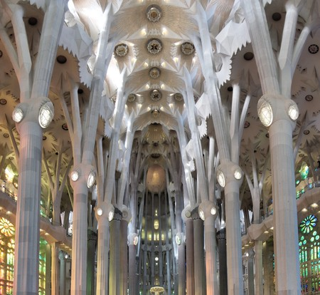 The ceiling of the central nave, with the typical catenary (hyperbolic) arches, in the Sagrada Familia, Barcelona, Spain
