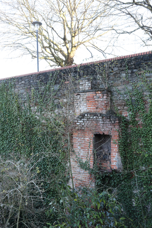 An old brick made chimney, covered with climbing ivy, during a sunny winter day with bare trees branches, in Redcliffe Caves, Bristol, United Kingdom