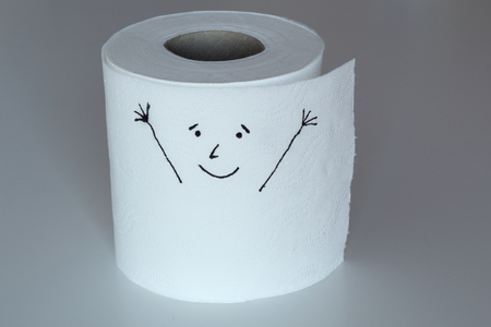 A white toilet paper roll sketched with a cheerful character with happy face and raised arms, representing the happiness feeling through his face