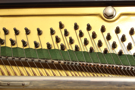 A close view of the plate of an upright piano musical instrument, with hitch pins used for tuning the strings, which pass over the bridge Banque d'images
